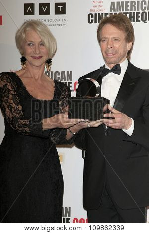 LOS ANGELES - DEC 12:  Helen Mirren, Jerry Bruckheimer at the 27th American Cinematheque Award at the Beverly Hilton Hotel on December 12, 2013 in Beverly Hills, CA