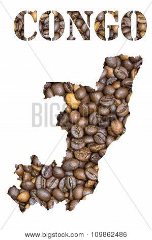 Congo Word And Country Map Shaped With Coffee Beans Background