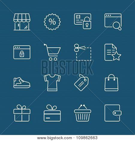 Shopping White Thin Line Iconset 2