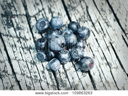 Bilberries On Wood