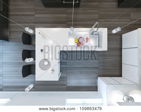 Top View Modern Kitchen Bar