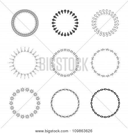 Set of round and circular decorative patterns for design frameworks and banners.