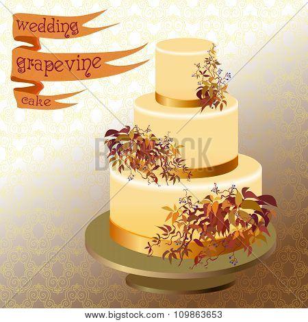 Wedding cake with autumn wild grape. Golden design.