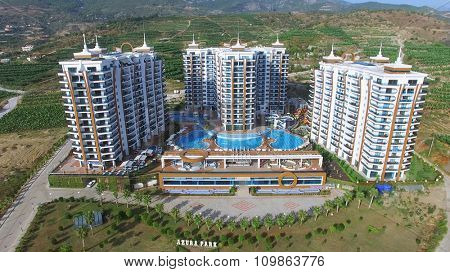 ALANIA - AUG 16, 2015: Residential complex Azura Park at summer sunny day. Aerial view videoframe