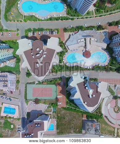 ALANIA - AUG 12, 2015: Edifices of My Marine Residence hotel with pools at summer sunny day. Aerial view videoframe