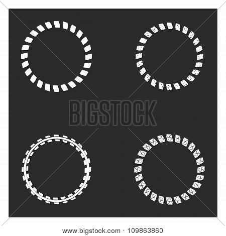 Set of round and circular frame for design frameworks and banners. Black and white