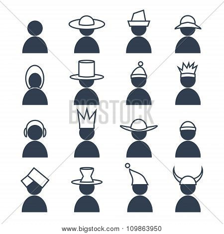 Set of human with differents headdress icons.