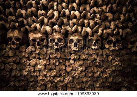 Skulls And Bones In Paris Catacombs