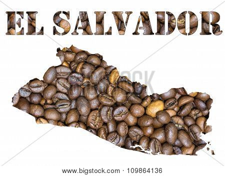 El Salvador Word And Country Map Shaped With Coffee Beans Background