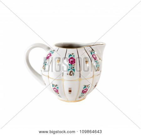 Ceramic Gravy Boat with ornament of roses in retro style isolated on white