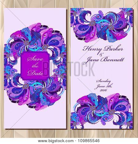 Peacock Feathers wedding invitation card. Printable Vector illustration