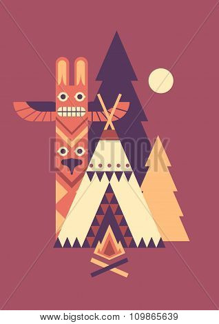 Indian totem and tent