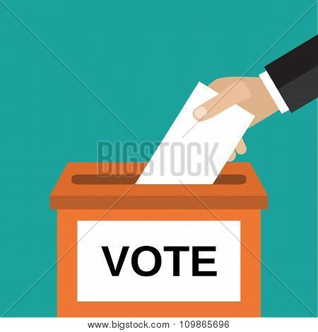 Human hand putting voting pape