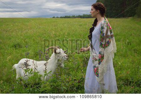Russian Woman Herding Goats