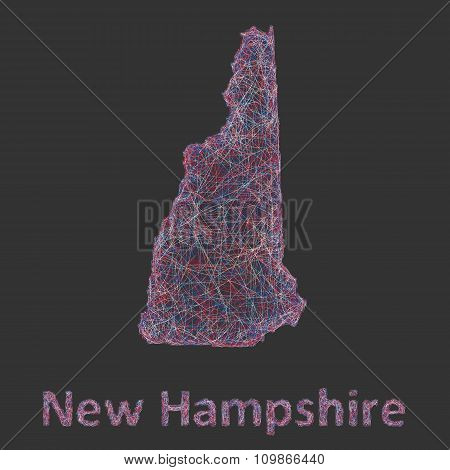 New Hampshire line art map