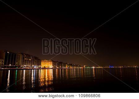 Cityscape at night  of Thessaloniki Macedonia Greece
