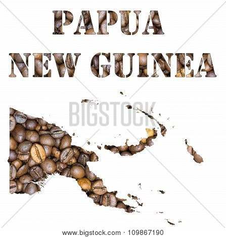 Papua New Guinea Word And Country Map Shaped With Coffee Beans Background