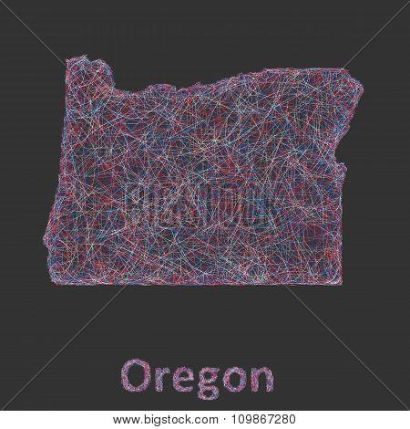 Oregon line art map