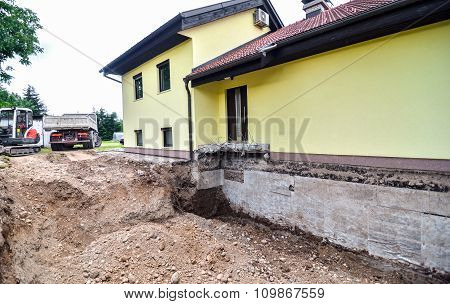 Digging Up House Foundation - Basement