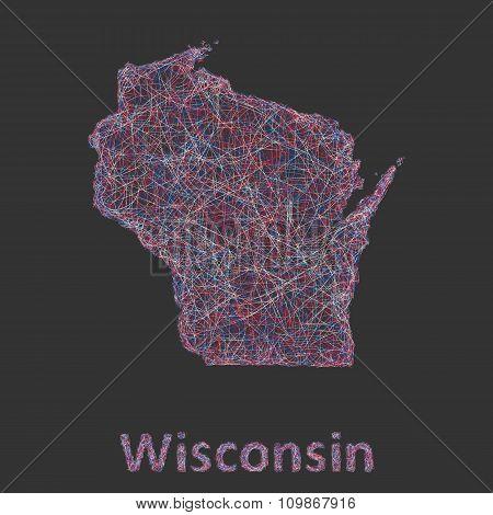Wisconsin line art map