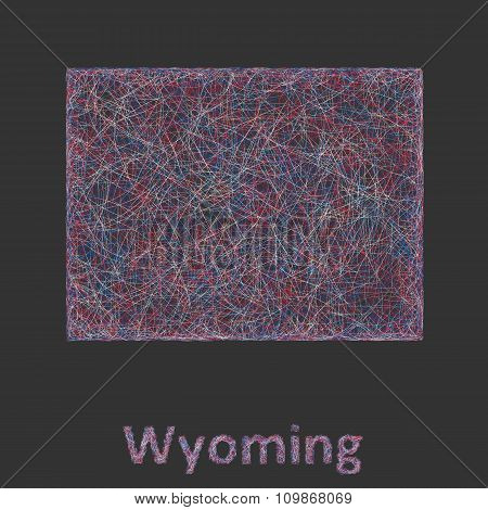 Wyoming line art map