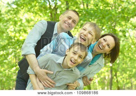 happy family enjoying  a walk