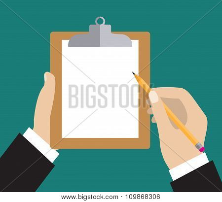Hand holding clipboard with blank sheet
