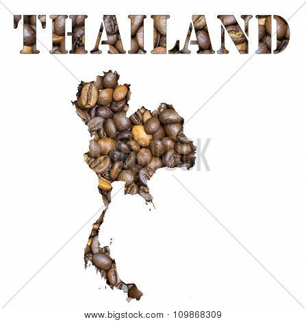 Thailand Word And Country Map Shaped With Coffee Beans Background