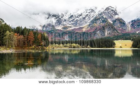 Lago Di Fusine - Mangart Lake In The Autumn Or Winter