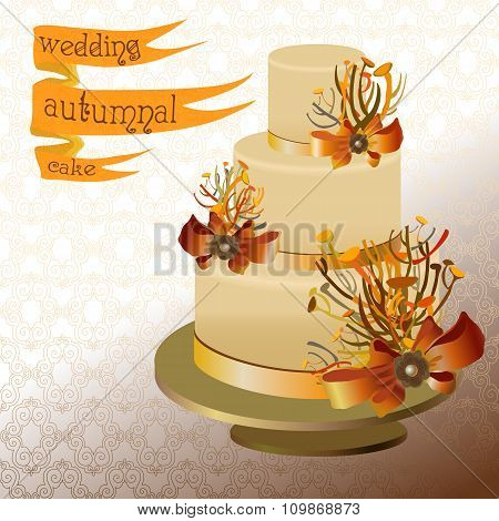 Wedding cake with autumn twigs. Golden, orange yellow design.
