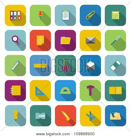 Stationery Color Icons With Long Shadow