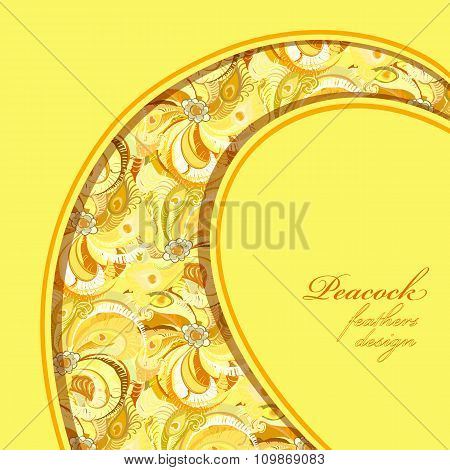Yellow curl design peacock feathers pattern background. Text place.