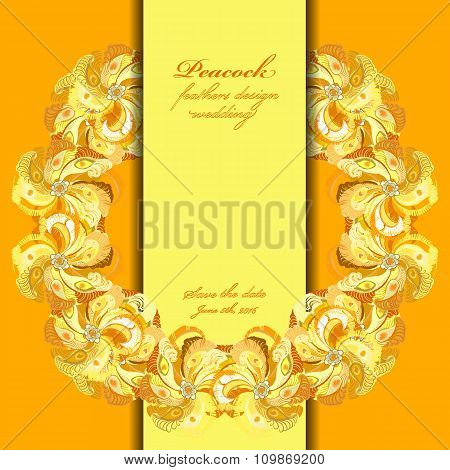 Peacock feathers wedding background. Circle vector frame illustration.