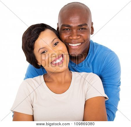 close up portrait of happy young african couple on white background