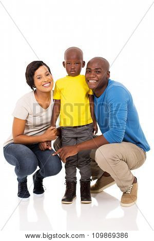 portrait of cheerful african family isolated on white background