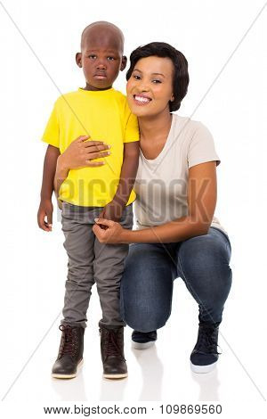 portrait of afro american woman with her cute son