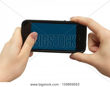 Touch screen mobile phone, in hand on white background