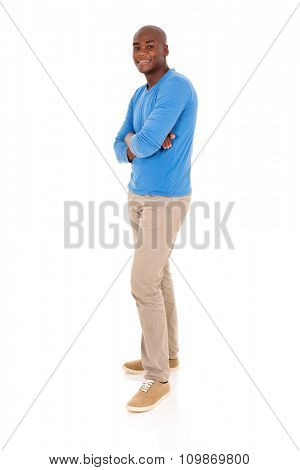 handsome young black man with arms crossed isolated on white