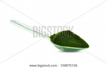 Barley grass on a spoon. Powder