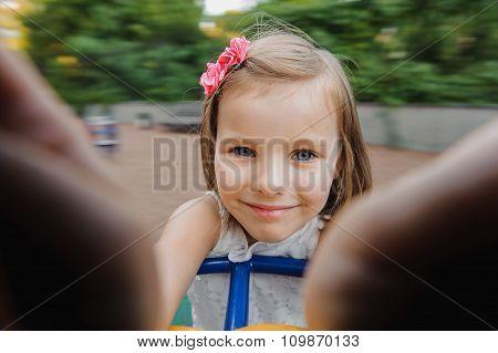 Happy Child In Spring Park.
