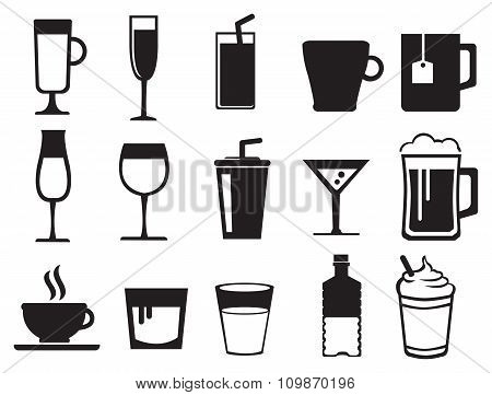 Beverages Black And White Vector Icon Set