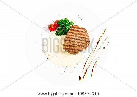 Juicy, And Beautiful Steak With Tomato And Herbs