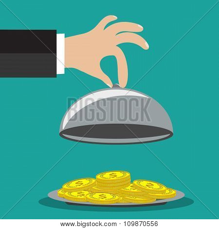 concept of businessman offering a money