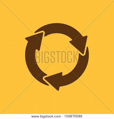 The waste processing icon. Bio symbol. Flat