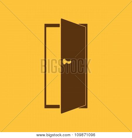 The door icon. Exit and login  symbol. Flat
