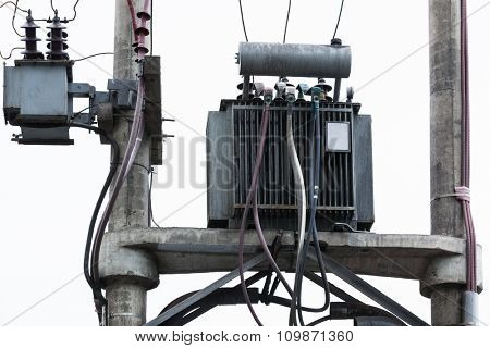 electrical transformer on a pole