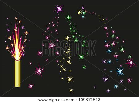 Fireworks fountain. Colorful fireworks sparks on black background