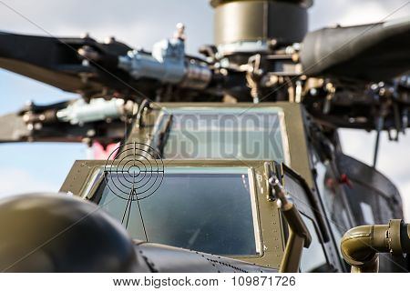 front of an military attack helicopter