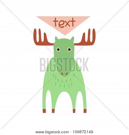 Cute deer with a sign for text