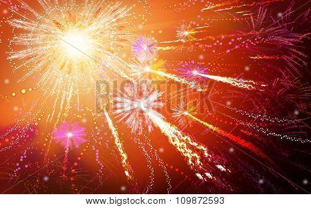 Big colorful fireworks explode